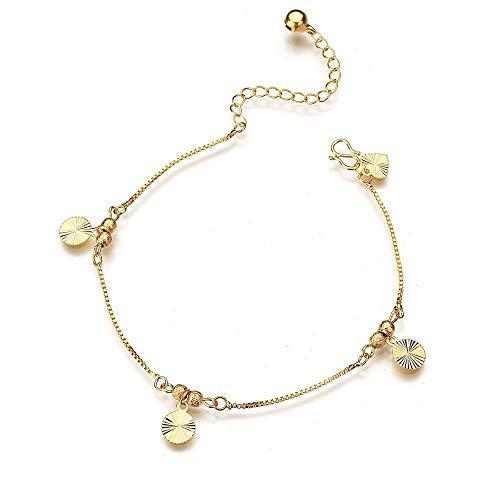 Frauen Armband Vintage Bell Gold Münze Anhänger Fußkette 2 Stück Kreatives Geschenk