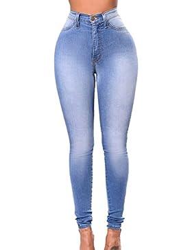 Vepodrau Mujeres Cintura Alta Cremallera Un Boton Largo Total Demin Pantalones Skinny