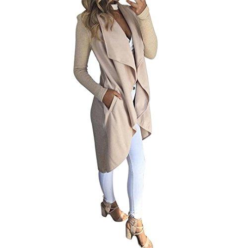 Damen Langer Mantel Cardigan Knielang,ZEZKT Trenchcoat mit Taschen Herbst und Winter Outwear Wasserfall Schnitt Jacke (S, Beige)