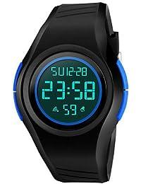 Lemumu 1269 Hombre Mujer Relojes luminosos Deportes Deportes impermeable relojes electrónicos 50 metros Waterproo,azul