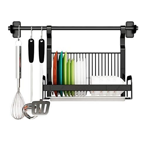 Dish Kitchen Rack Edelstahl Schwarz Abfluss Haken Wand-montiert Multi-Funktion Lagerung Haushalt 39,5 cm * 26,2 cm * 35,5 cm CHENGYI -