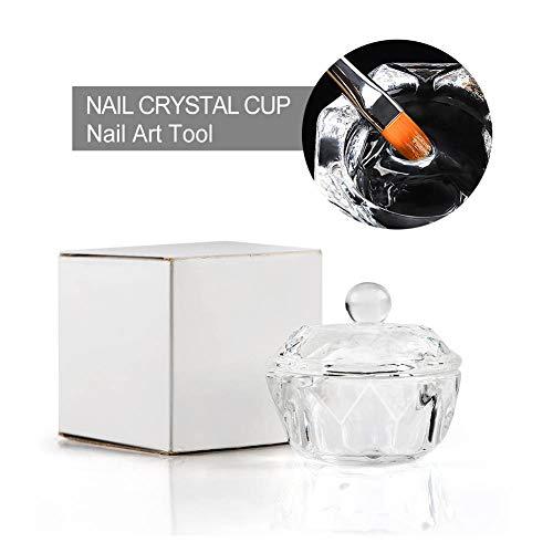 1 Stück Nail Art Acryl Flüssigkeit Pulver Dish Bowl Glas Crystal Cup Glaswaren mit Deckel Maniküre Pflege Werkzeuge