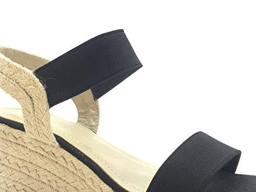 CHIC NANA . Chaussure femme Mode Espadrille Sandale compensée hauteur cheville. Existe en Noir, Rouge. Noir