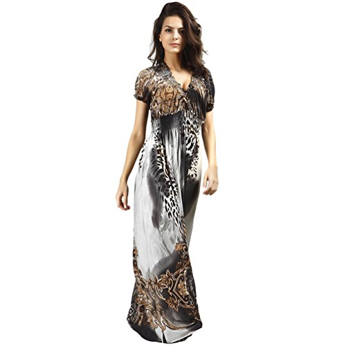 YOKIRIN Vestiti Spiaggia Donna Lunghi Abito Donna Corti manica Vestiti da mare Leopardo Grigio(2XL)