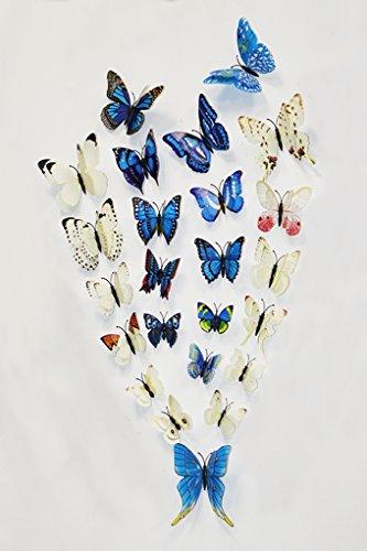 FiveRen 24 STÜCKE Doppelflügel 3D Schmetterling Aufkleber Neue Dekoration für Kindergarten Klassenzimmer Büros Kinder Mädchen Jungen Baby Schlafzimmer Badezimmer Wohnzimmer Magneten & Kleber Aufkleber Set (2 Farben, Weiß, Blau)