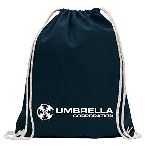 KIWISTAR - Umbrella Corperation Turnbeutel Fun Rucksack Sport Beutel Gymsack Baumwolle mit Ziehgurt Dunkelblau