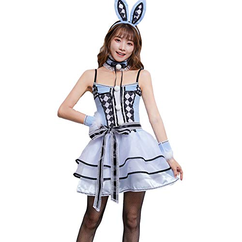 Bunny Alice Kostüm - FGDJTYYJ Halloween Cosplay Bunny Kleid, Alice Hut Kostüm Madman Dreaming Queenland Rock Rabbit (Kleid + Ohr + Hand Ring + Hals + Gürtel),XL