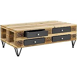 [en.casa]®] Set de 4 x Cajón para europalé - se Adapta Perfectamente - Gris (9,5cm x 37,5cm x 44,5 cm)