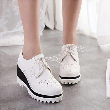 Talloni delle donne Primavera Estate Autunno Inverno Dress Altro similpelle ufficio & carriera casuale Zeppa Lace-up Nero Blu Rosa Bianco Black