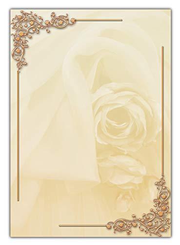Motiv Briefpapier schöne beige Rosen mit Ornamenten (MPA-5191, DIN A4, 25 Blatt) Motivpapier Vintage Antik Premium-magenta Rose