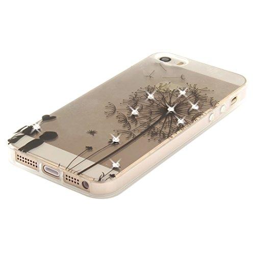 Hülle iPhone SE Glitter, iPhone 5S Tasche Glitzer, iPhone 5 Glitzer Case, Moon mood® Kristall Sparkle Schutzhülle für Apple iPhone SE / 5 / 5S 4.0 Zoll Weich hybrides TPU Stoßdämpfer + Acryl rückseiti Löwenzahn