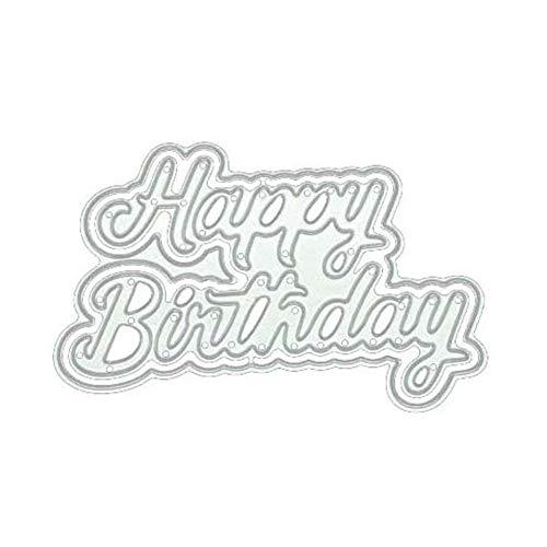Luo-401XX Stanzen stirbt, Alles Gute zum Geburtstag Buchstaben Muster Schablone Vorlage für Karte Machen Scrapbooking Fotoalbum DIY Handwerk Party Dekoration Silver