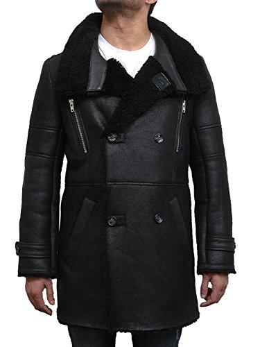 Brandslock Herren Luxus Schaffell Erbsen Mantel Deutscher Marine langer Duffle Mantel Ideal für den Winter neuesten Design (Large, schwarz) (Erbse Mäntel Herren)