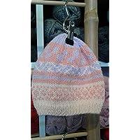 Bonnet jacquard tricoté main pièce unique