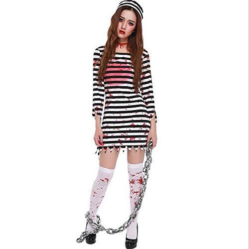 KINDOYO Womens Zombie Convict Gefängnis Gefangene Damen Halloween Fancy Dress Kostüm