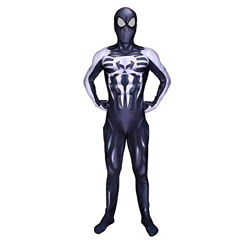 Kostüm Spiderman 2099 - ERTSDFXA 2099 Symbiote Spiderman Kostüm Kinder Erwachsener Costume Unisex Halloween Weihnachten Party Spandex Jumpsuits,Adult-S(Height60-63Inch)