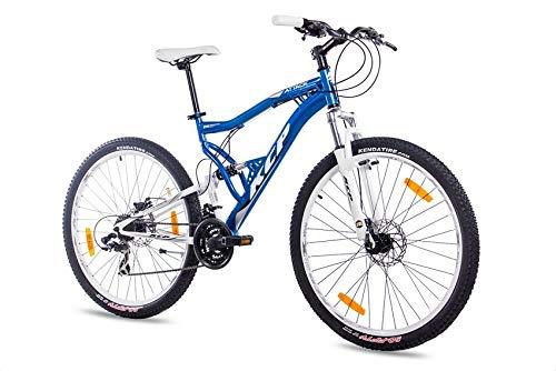 KCP 27,5 Zoll Mountainbike Fahrrad - MTB Attack blau Weiss - Vollfederung Mountain Bike Unisex für Herren, Damen oder Jungen, MTB Fully mit 21 Gang Shimano Schaltung und Zwei Scheibenbremsen