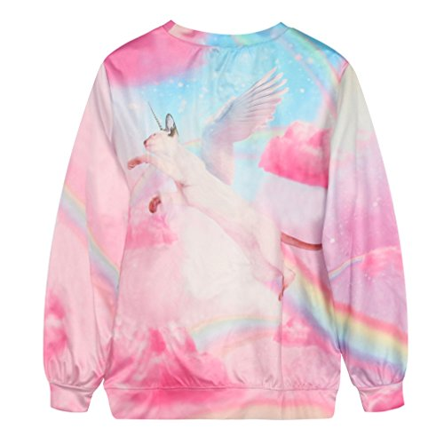 YICHUN Femme Tops T-Shirts de Loisir Tee-Shirt Léger Sweat-shirts Sweaters Impression Pulls Blouse Pull-Overs Jumpers Licorne 21#