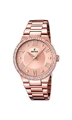 University Sports Press F16721/2 - Reloj de cuarzo para mujer, con correa de acero inoxidable chapado, color oro rosa de University Sports Press