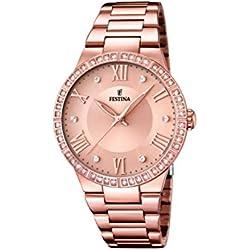 University Sports Press F16721/2 - Reloj de cuarzo para mujer, con correa de acero inoxidable chapado, color oro rosa