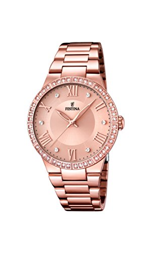Festina Women's Quartz Watch with Rose Gold Dial Analogue Display and Rose Gold Stainless Steel Plated Bracelet F16721/2