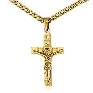 KnSam Herren Halsketten 18K Gold Vergoldet Kreuz Jesus Kruzifix Anhänger Gebetskette für Männer, Gold 60cm 80cm [ Neuheit Halskette ]