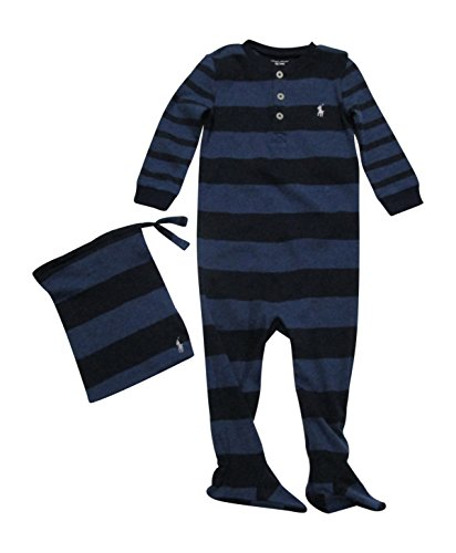 39fbde0f0a Ralph Lauren Baby Boys  Cotton Pajamas Footed Coverall Bodysuit Long Sleeve  - Blue - 3