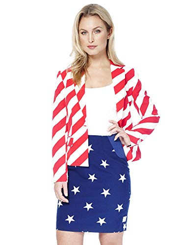 Opposuits Damen Anzüge mit bunten Prints - Komplettes Set mit Bleistiftrock und Jacke (Anzug Stripes Stars And)