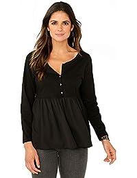 VENCA Camiseta Escote Redondeado con Abertura y Botones de Brillante by Vencastyle