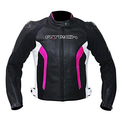 Damen Lederjacke r-tech Tom Rider Motorrad-Jacke für Damen 38 Schwarz/Fuchsia (Mesh-tech Motorrad-jacke)