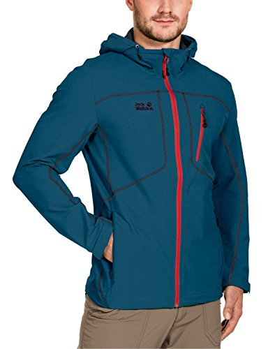 Jack Wolfskin Herren Softshelljacke Rock Me Jacket Men, Moroccan Blue, XL, 1302492-1800005