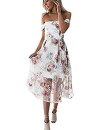 Vestido mujer verano ❤ Amlaiworld Vestido maxi largo impreso floral del verano de mujeres del hombro Mini vestidos de playa Vestido de…