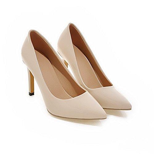 Voguezone009 Femmes Pull Shimmer Bout Pointu Chaussures Fermé Talon Stiletto Pure Beige Ballerines
