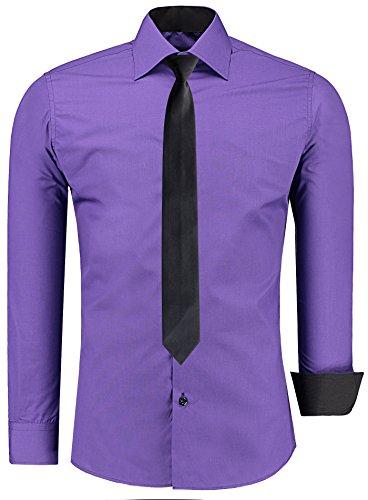 JEEL Herren Hemd Business Hochzeit Freizeit Slim Fit Übergrößen + Krawatte S-6XL Purple