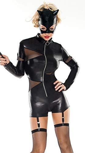 SADWF Schwarz Sexy Lackleder Katze Kleid Halloween Bühnentechnik Cosplay Kleidung Catsuit
