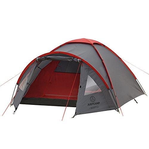 Justcamp Scott 3 Campingzelt mit Vorraum; Iglu-Zelt für 3 Personen (doppelwandig) - grau