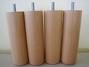 promo matelas jeu de 4 pieds cylindriques bas pour sommier tapissier 3 coloris 15 cm. Black Bedroom Furniture Sets. Home Design Ideas