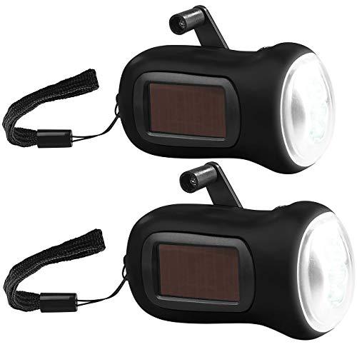 PEARL Kurbellampe: 2er-Set Dynamo-Akku-Taschenlampe mit Solarpanel, 3 LEDs, 0,4 W, 20 lm (Solar-Taschenlampe)