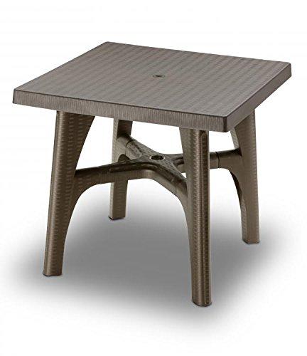 Ideapiu Table carrée 80 x 80 Bronze, Table rotin synthétique, Table tressé rotin