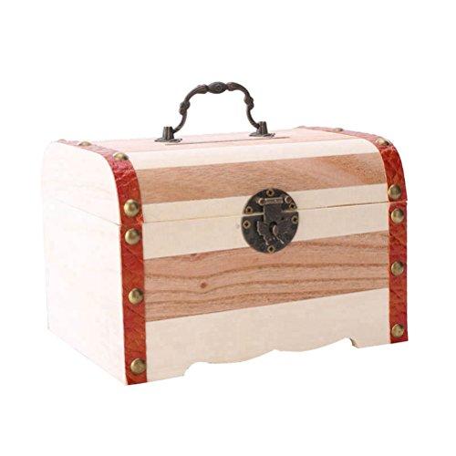 Sperren Brust (Supvox Sparschwein Holz Münze Spar Bank Box Holz Geld Mini Vintage Schatz Stash Brust Box Organizer ohne Sperre - Größe M)