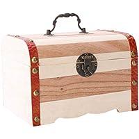 Preisvergleich für TOYMYTOY Mini Vintage Holz Münze Spar Bank Box Holz Geld Sparschwein Schatz Stash Chest Box Organizer Ohne Schloss - Größe M