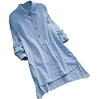 Gusspower Blusa de Mujer largas Tallas Grandes Camiseta de Mangas Largas Tops para Mujer Elegantes Vintage Tops Algodón y Lino