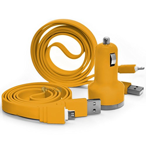yellow-vodafone-smart-first-7-in-car-dual-port-21-amp-bullet-usb-charger-2x-micro-usb-data-sync-cabl