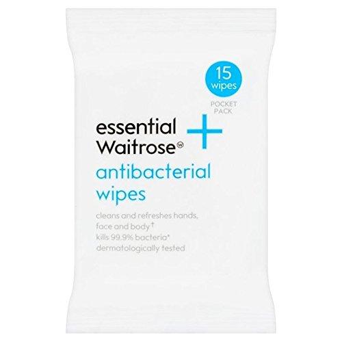 Antibactérien Lingettes Waitrose Essentielle 15 Par Paquet (Lot de 6)