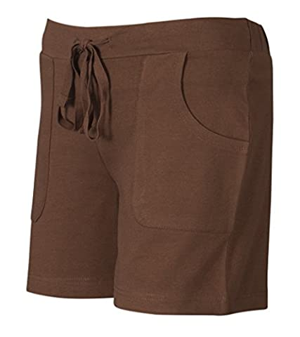 Women's Plain Ladies Drawstring Cotton shorts Casual Spring Summer Bottoms (X-Large, Coffee)