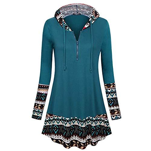 Elegant Damen Oberteil Langarm O Neck Printed Flared Floral Beiläufig Täglich Geschäft Trainieren Tops Tunika T-Shirt Bluse Pulli(Y2-Blau, EU-42/CN-L) ()