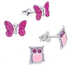 2 Paar Kristall Schmetterling + Eule Ohrstecker 925 Echt Silber Mädchen Ohrringe