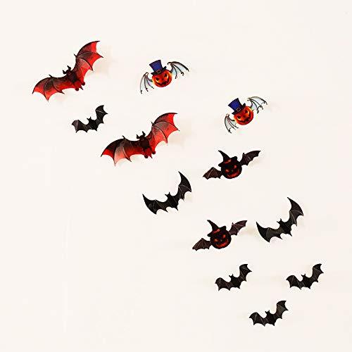 Fledermaus Wandaufkleber Für Halloween 12Pcs / Set Dekoration Kinderzimmer Dekor Jungen Geschenk 3D Kürbis Fledermaus Wandkunst Lustige Aufkleber (Für Kürbis Einen Sie Bereiten Halloween)