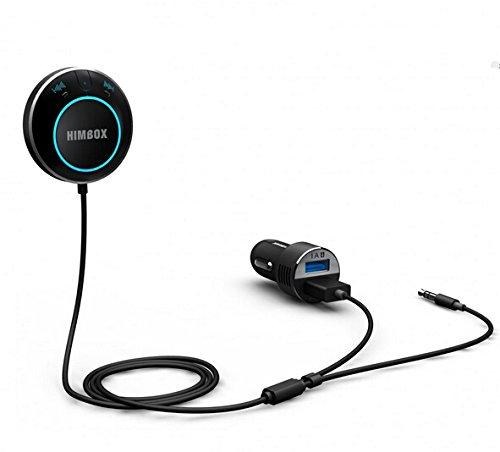 iClever® Himbox HB01 Bluetooth 4.0 recepteur Kit de voiture mains-libres pour voiture avec 3.5 mm Input Jack compatible téléphone et ipad avec bluetooth -activation siri/ de la voix -permet de se connecter avec deux téléphones à la fois [chargeur de voiture double USB et base magnétique inclus]-Noir