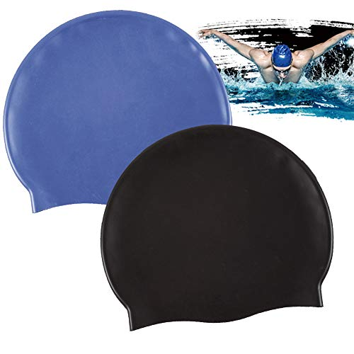 85b11f7ebdbf BESTZY Swimming Cap, 2 Pcs Silicone Cap Swim Hat Unisex Adult for Swimming  Accessories (Black, Dark Blue)